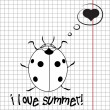 Stock Photo: Pretty summer background with ladybug, vector