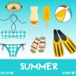 Set of pretty colorful summer icons, vector — Stok fotoğraf