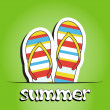 Pretty summer background with slippers, vector — 图库照片