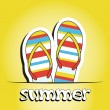 Stock Photo: Pretty summer background with slippers, vector