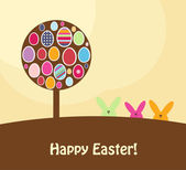 Easter card with colorful eggs and rabbits, vector illustration — Stock Photo