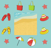 Summer (beach) icon set with seashore, vector — Stock Photo