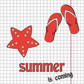 Pretty summer background with slippers and sea-star, vector — Stock Photo