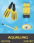 набор иконок устройств летом подводные (дайвинг), вектор — Стоковое фото