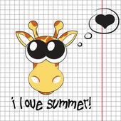 Pretty summer background with giraffe, vector — Stock Photo