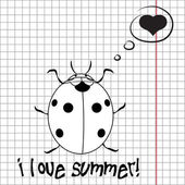 Pretty summer background with ladybug, vector — Stock Photo
