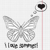 Pretty summer background with butterfly, vector — Stock Photo