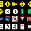 Stock Photo: Set icon of road signs, vector