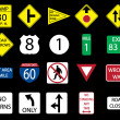 Set icon of road signs, vector — Stock Photo