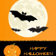 Halloween holiday card with scary pumpkin and bats — Foto de Stock