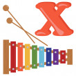 Alphabet for kids, letter x, vector illustration — Stockfoto