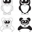 Cute cartoon owl and panda with big eyes, vector — Foto Stock