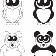 Cute cartoon owl and panda with big eyes, vector — Stock Photo