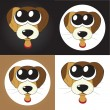 Set of cartoon puppies (dogs) with big eyes, vector — Foto Stock