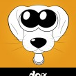 Stock Photo: Cartoon cute puppy (dog) with big eyes, vector