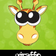 Vector illustration of cartoon giraffe with big cute eyes — Foto de Stock