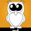 Very cute cartoon owl with big eyes, vector — Stock Photo
