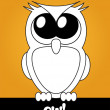 Very cute cartoon owl with big eyes, vector — Стоковая фотография