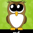 Stock Photo: Very cute cartoon owl with big eyes, vector