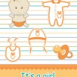 Stock Photo: Colorful icon set of baby goods, vector