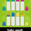 Baby milk bottles, vector, icon set — Stock Photo