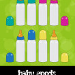Baby milk bottles, vector, icon set — Stok fotoğraf