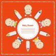 Stock Photo: New arrival card (baby shower), invitation, vector illustration
