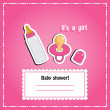 New arrival card (baby shower), invitation, vector illustration — Foto Stock #22993434