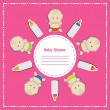 New arrival card (baby shower), invitation, vector illustration — Foto Stock