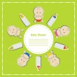 New arrival card (baby shower), invitation, vector illustration — Stock Photo