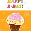 Happy birthday funny greeting card, vector illustration — Stok fotoğraf