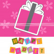 Happy birthday cute greeting card, vector illustration — Foto de Stock