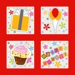 Happy birthday colorful greeting card, vector illustration — Stock Photo #22995174