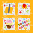 Stock Photo: Happy birthday colorful greeting card, vector illustration