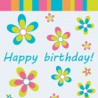 Happy birthday colorful greeting card, vector illustration — Foto de Stock