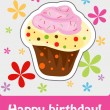 Happy birthday cute greeting card, vector illustration — Stock Photo #22995192