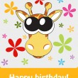 Happy birthday funny greeting card with giraffe, vector illustra — Stock Photo