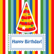 Happy birthday cute greeting card, vector illustration — Stock Photo