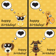 Stock Photo: Happy birthday funny greeting card with animals, vector illustra