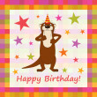 Happy birthday funny greeting card, vector illustration — Foto Stock