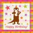 Happy birthday funny greeting card, vector illustration — Stockfoto