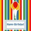 Happy birthday cute greeting card, vector illustration — 图库照片