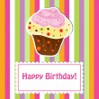 Stock Photo: Happy birthday cute greeting card, vector illustration