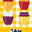 Icon set of simple jars with jam, vector — ストック写真