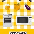 Icon set of kitchen appliances, vector illustration — Stock Photo