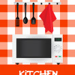 Stock Photo: Vector illustration of kitchen (microwave plus appliances)