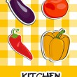 Icon set of vegetables, vector illustration - Stock Photo