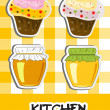 Icon set of honey and cupcakes, vector illustration - Stock Photo