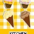 Stock Photo: Icon set of ice cream and cupcake, vector illustration