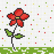 Cute pixel graphic with flower, vector — Stok fotoğraf